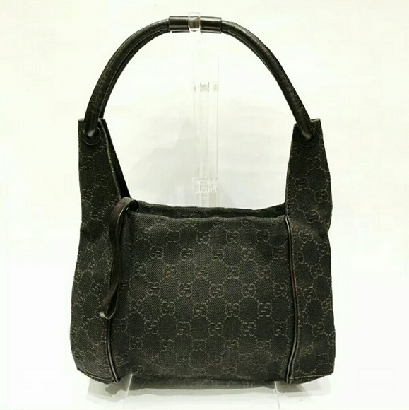Gucci Handbags - Auth Gucci dark brown small hobo bag